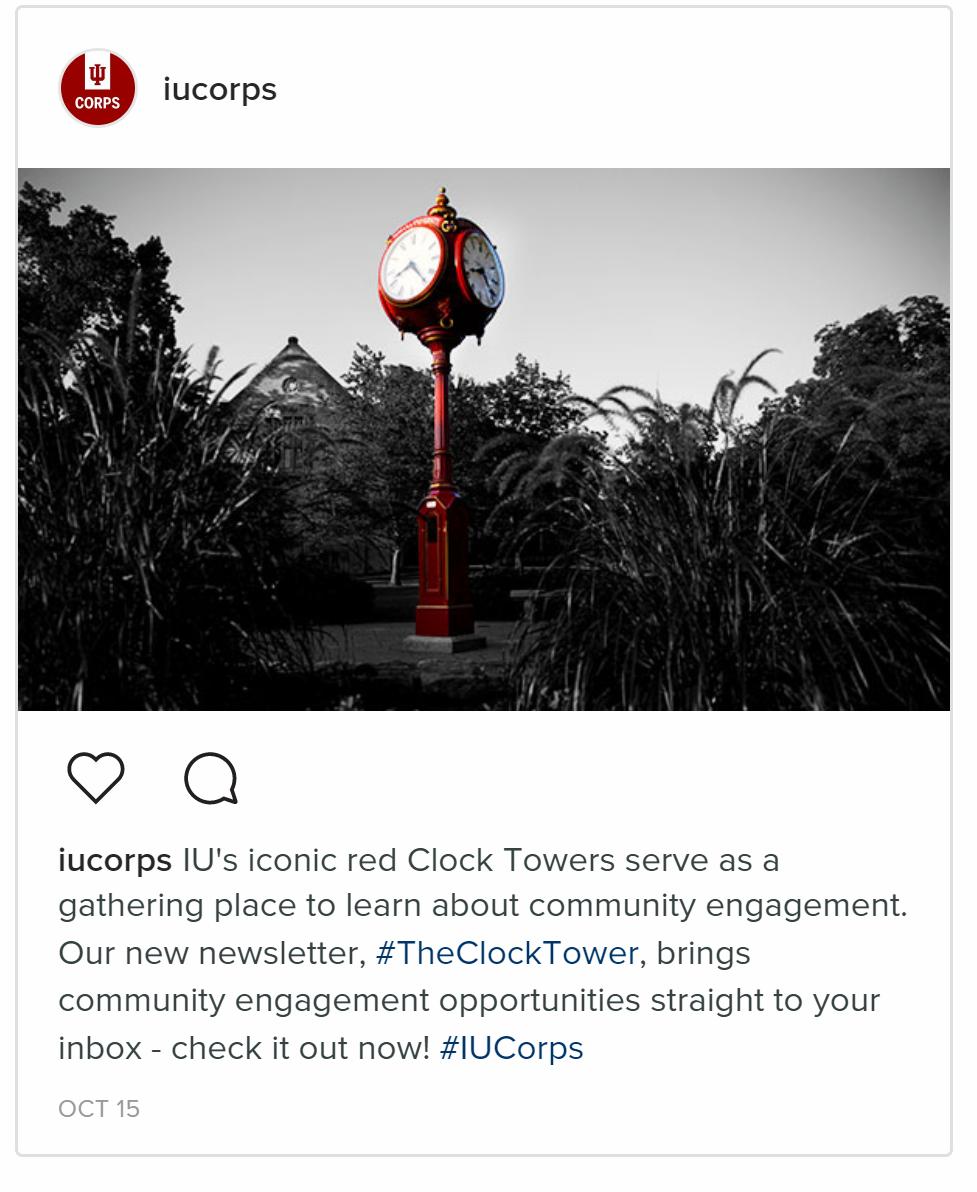 Screen capture of IU Corps Instagram account